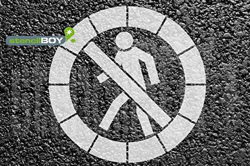 Durchgang verboten Bodenmarkierungs-Schablone F/ür Fussg/änger verboten