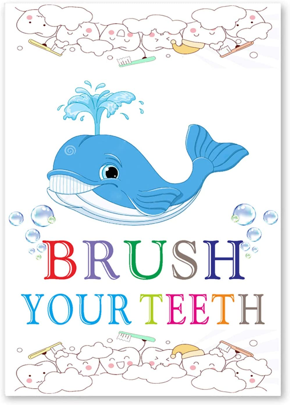 """Funny Bathroom Shark Whale Quote Wall Art Prints,Watercolor Poster with Brush Your Teeth,Bathroom Sign Canvas Wall Art for Washroom Home Decor.(Unframed,16""""X24""""inches)"""