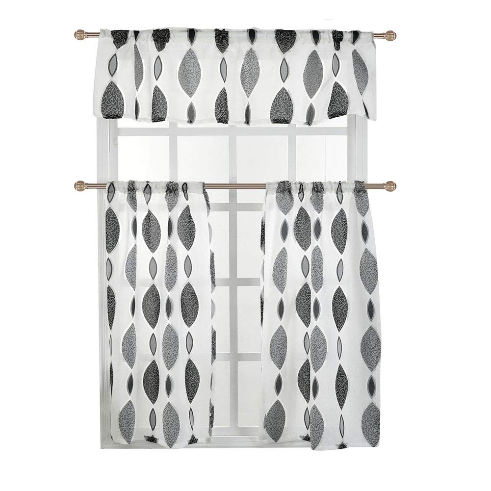 GoDeal 3 Set UV Protection Curtains Sheer 1 Half Shading Valance L: 150 W: 45CM + 2 Curtains Voile 75 75CM Rod Pocket Top Window Decoration
