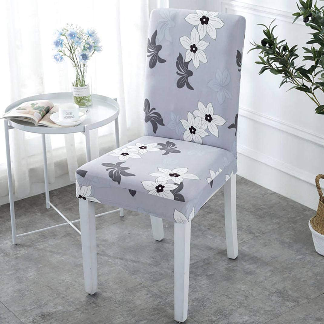 JDSHSO 1 Pair Elastic Floral Printed Chair Cover Spandex Stretch Dining Chair Covers for Kitchen Office Chair Slipcover