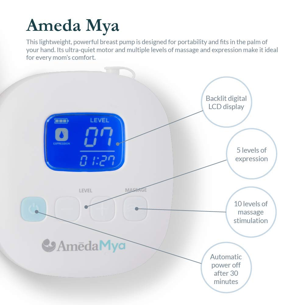 Ameda Mya Portable Closed-system Breast Pump with Locking 24mm Flanges Wide-neck Storage Bottles and Rechargeable Battery