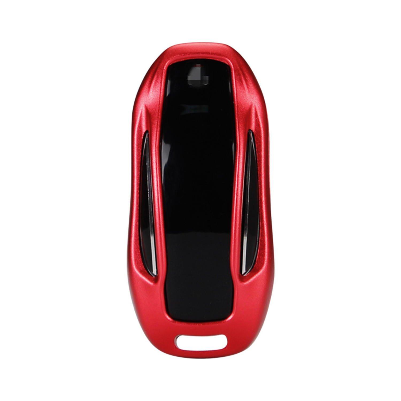 [M.JVisun] Key Fob Cover For Tesla Key Fob Remote Key, Fits Tesla Model X Smart Keyless Start Stop Engine Car Key, Aircraft Aluminum Key Fob Protection Case, Key Cover For Tesla Model X - Red