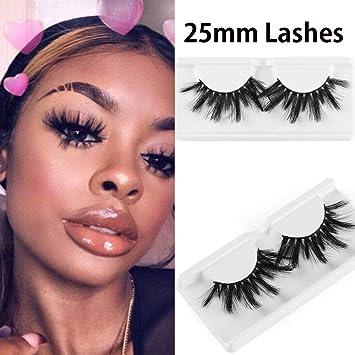 af28f848d77 Amazon.com : 1 Pair 25mm Lashes 3D Mink Hair False Eyelashes Wispy Long  Fluffy Eyelashes Extension Soft Mink Hair Lashes Handmade : Beauty