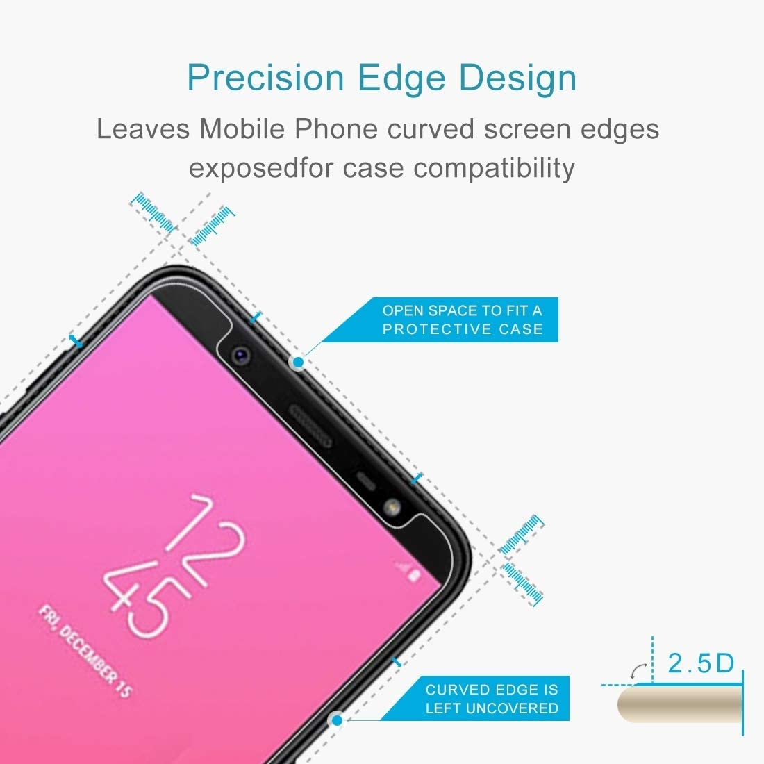 ZENGMING Tempered Glass Film Screen Protector 100PCS 9H 2.5D Tempered Glass Film for Galaxy J8 Anti-Scratch 2018