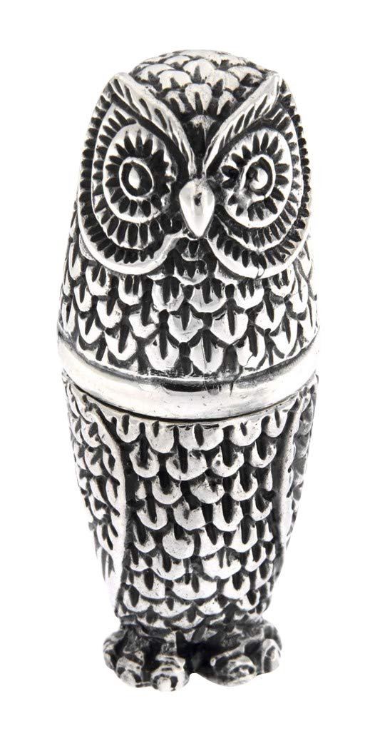 Antique/Vintage Style Highly Detailed Owl Pin Cushion in Fine Sterling Silver by Silver Mine Gifts