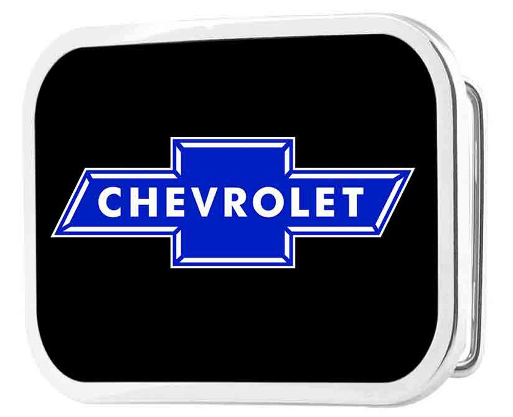 Chevrolet Automobile Company Retro Blue Bowtie Rockstar Belt Buckle Buckle Down