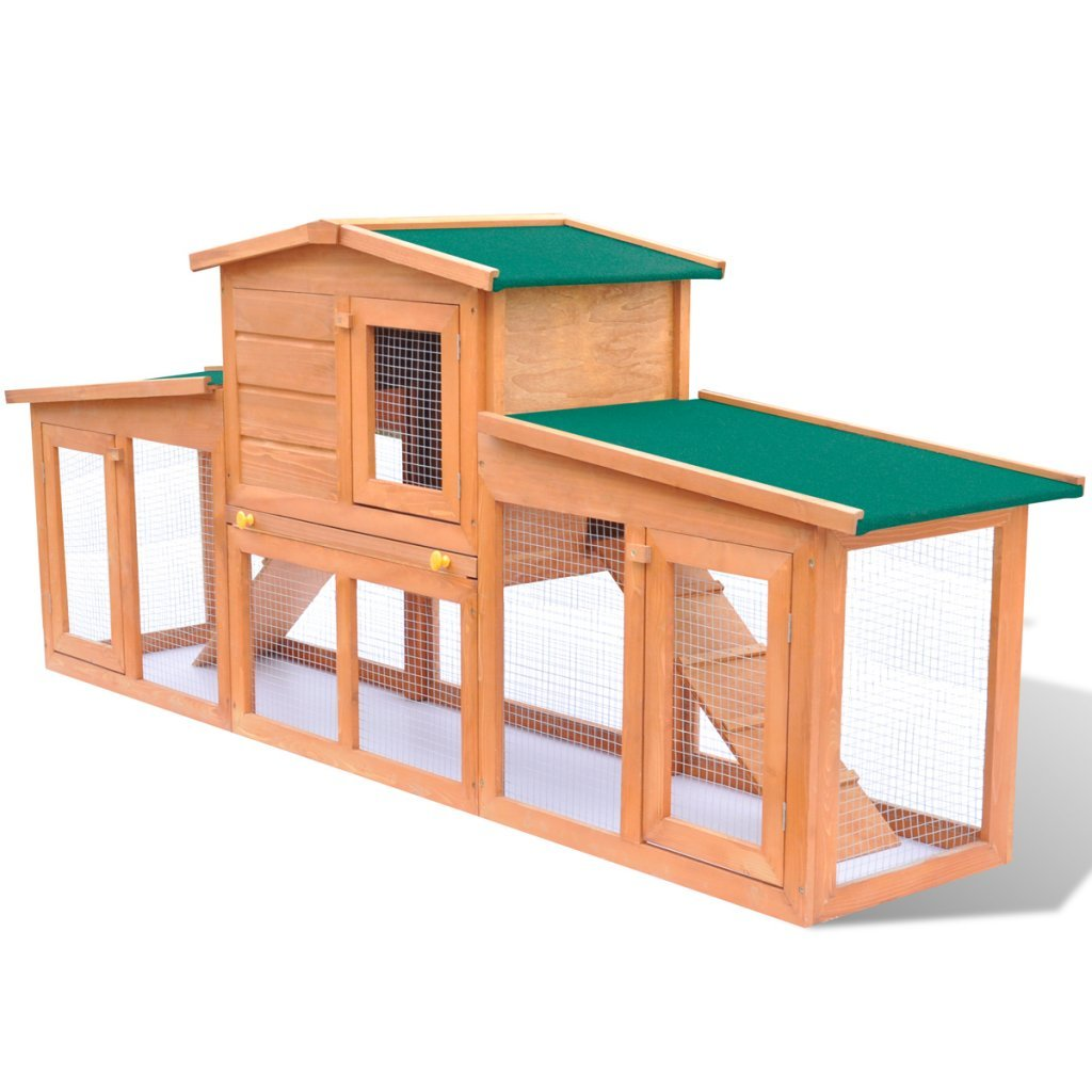 Anself Large Wood House Rabbit Bunny Hutch with 2 Runs Waterproof Roof