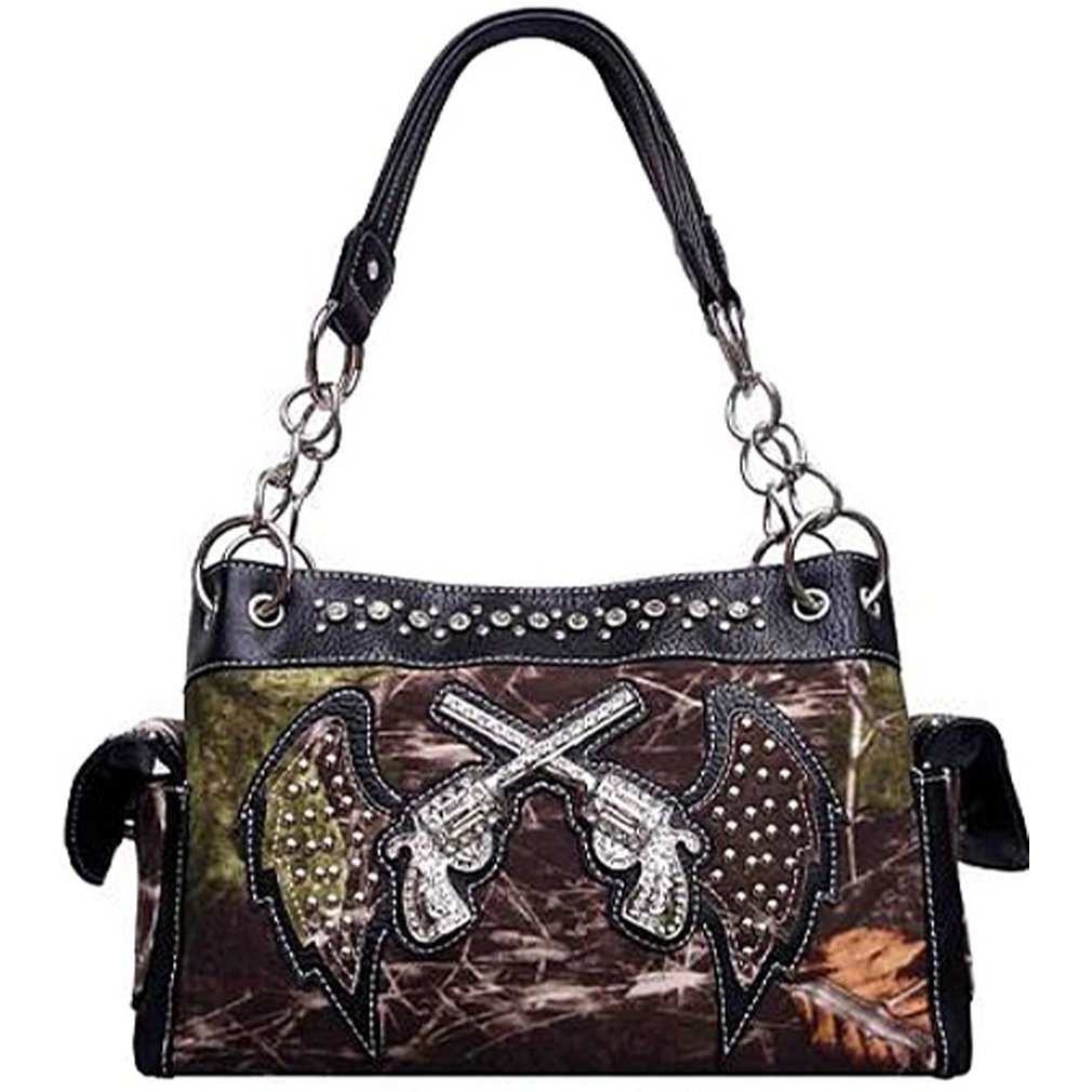 Cowgirl Soft Camo Angel Wings Rhinestone Guns Satchel Purse (black)