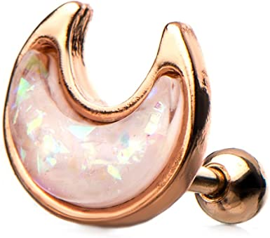 Planet rose gold opal stone cartilage earrings