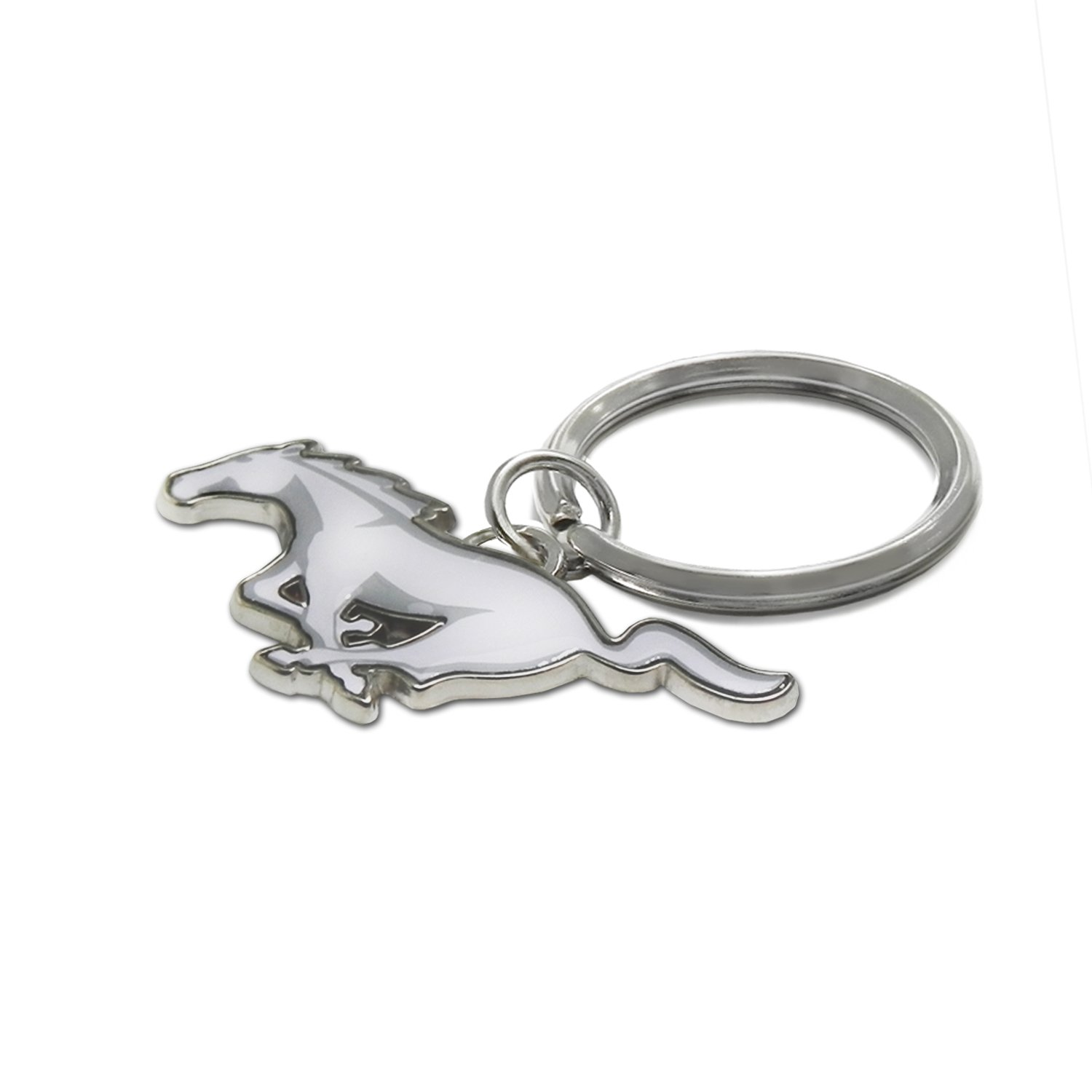 Ford Mustang White Pony Logo Metal Key Chain Keychain by iPick Image for 2000 to 2018 Mustang Key Charm