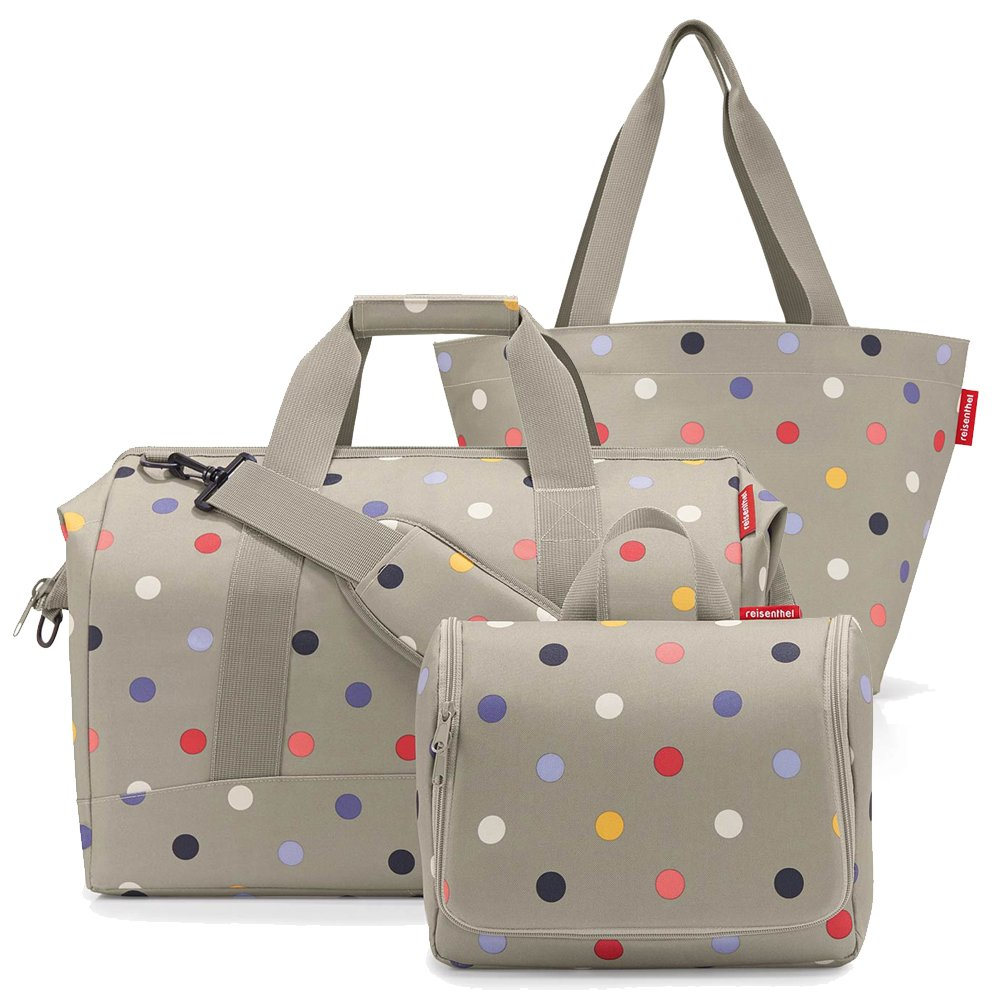 reisenthel Set - allrounder L + toiletbag XL + GRATIS shopper M beige dots LIMITIERT 5894