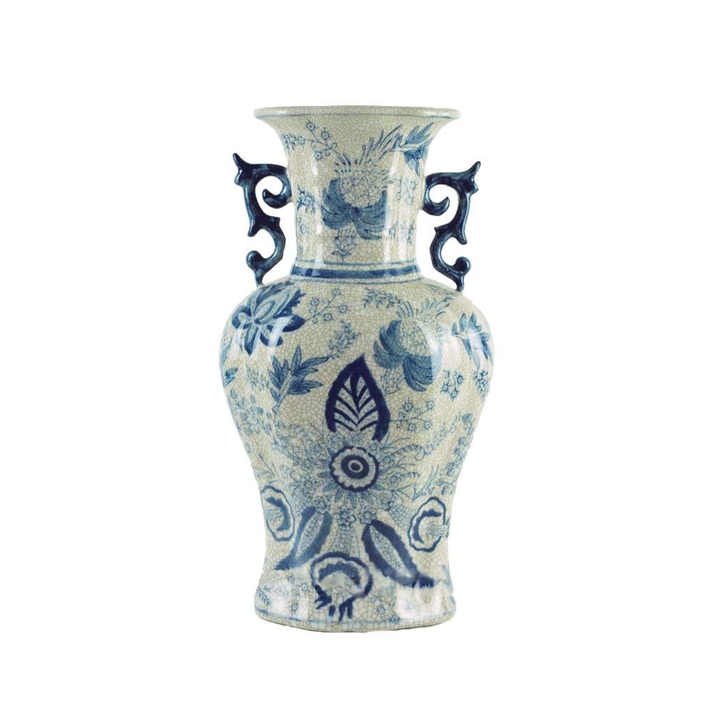 クラック釉薬セラミックス花瓶レトロ青と白の磁器の装飾装飾フラワーインサーター anQna B07S7PB72Y