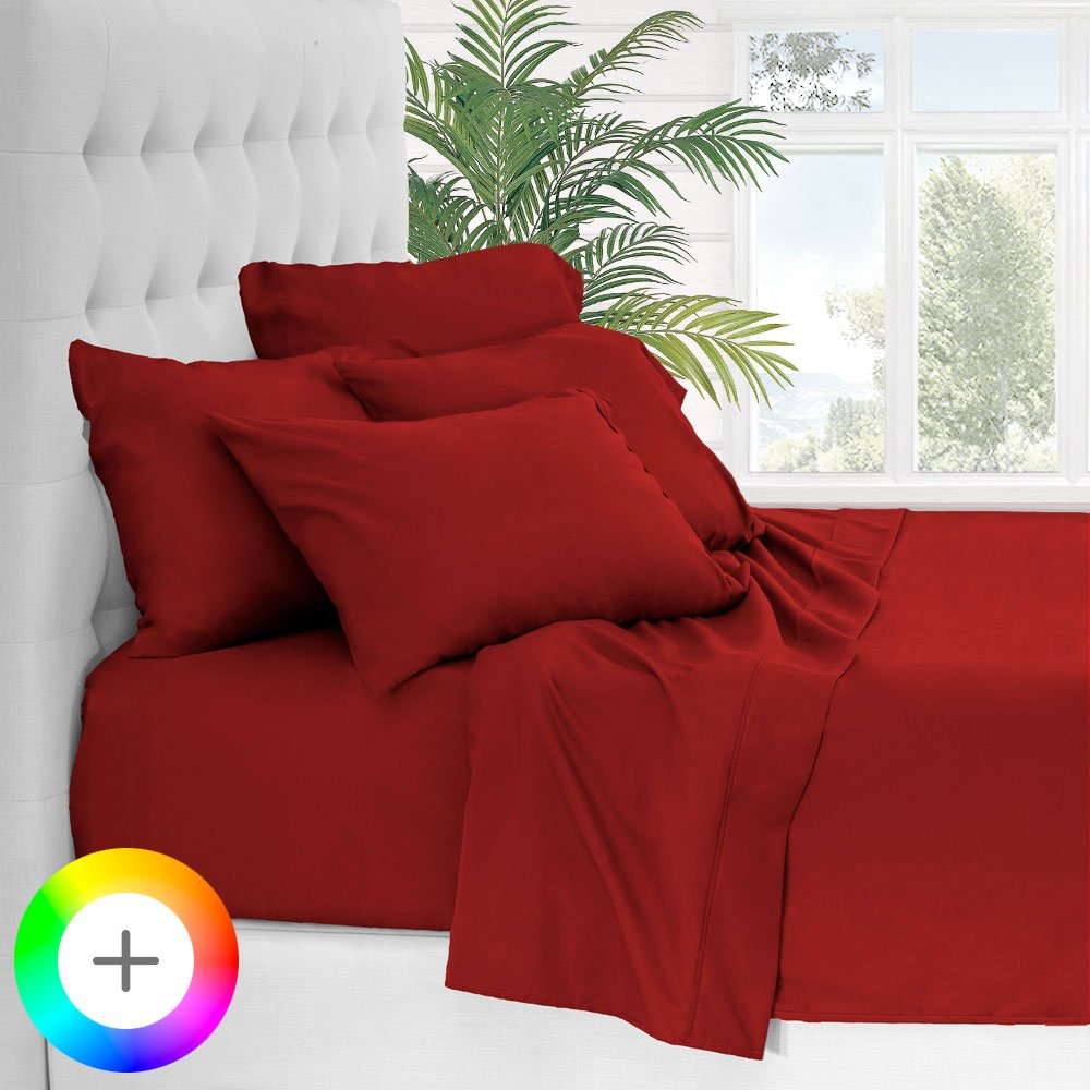 Bare Home 6 Piece 1800 Collection Deep Pocket Bed Sheet Set - Ultra-Soft Hypoallergenic - 2 EXTRA PILLOW CASES (Queen, Red)