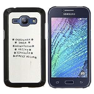 Stuss Case / Funda Carcasa protectora - Máquina de escribir Papel Aventura Estrellas texto - Samsung Galaxy J1 J100