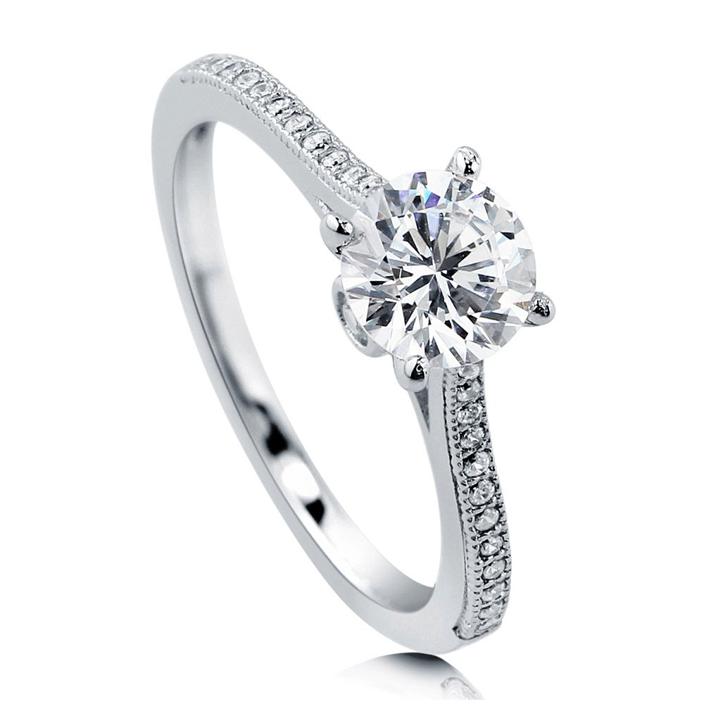 BERRICLE Rhodium Plated Sterling Silver Round Cubic Zirconia CZ Solitaire Promise Engagement Ring 1.18 CTW Size 5