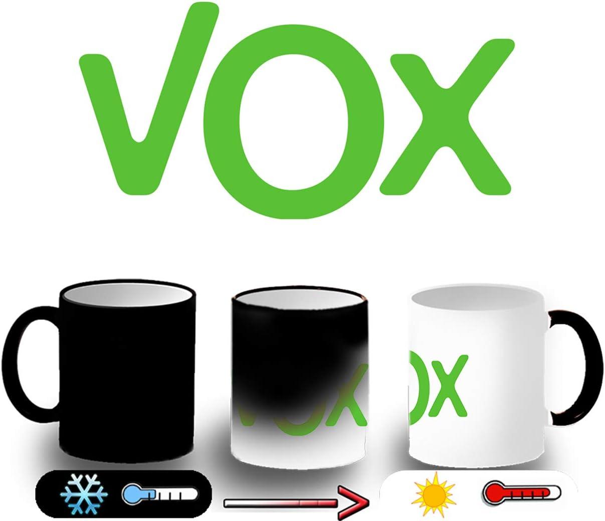 MERCHANDMANIA Taza MÁGICA Logo Partido VOX Magic mug: Amazon.es: Deportes y aire libre