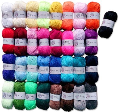 Hdk-Versand 25x50 Gr. Lisa Strickgarn Strick-Wolle Set XL (keine Farbauswahl möglich) inkl. 1 Gratis Mützenlabel