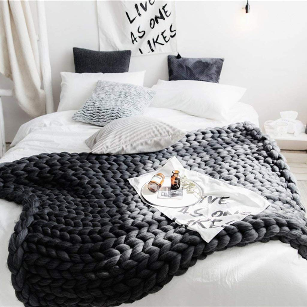分厚いニット毛布手作り厚いウールかさばる編み物のベッドルーム装飾超大型ベッドソファペットマット、ダークグレー,80