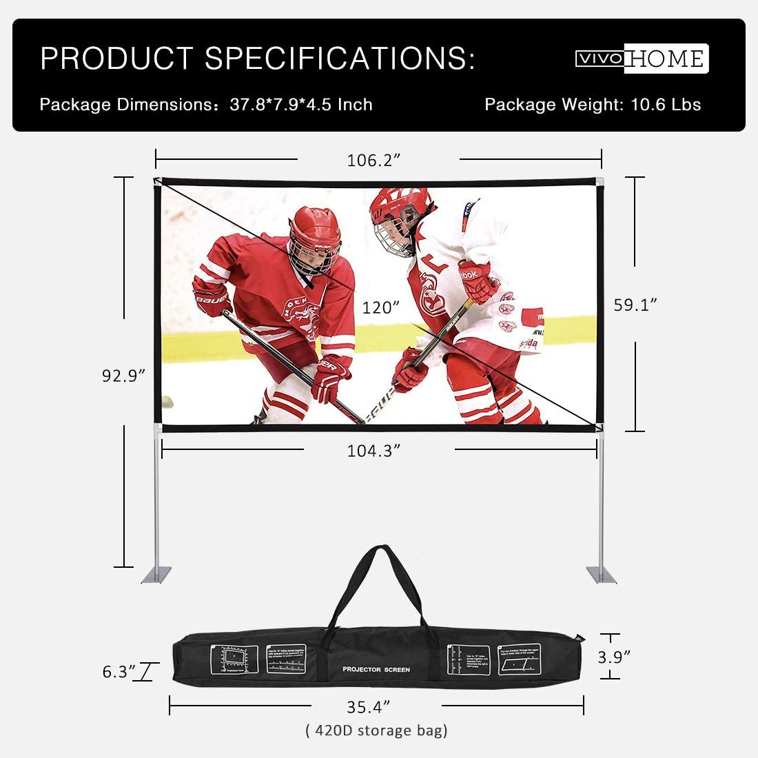 VIVOHOME 120 Inch 16:9 4K Portable Indoor Outdoor Projection Movie Screen with Stand and Carry Bag