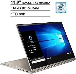 Lenovo Yoga C930 13.9-Inch 4K 2160P 2-in-1 Touchscreen Business Laptop, Intel 4-Core i7-8550U up to 4.0GHz, Intel UHD 620, 16GB DDR4 RAM, 1TB SSD, WiFi, Backlit KB, FP Reader, Windows 10, Mica