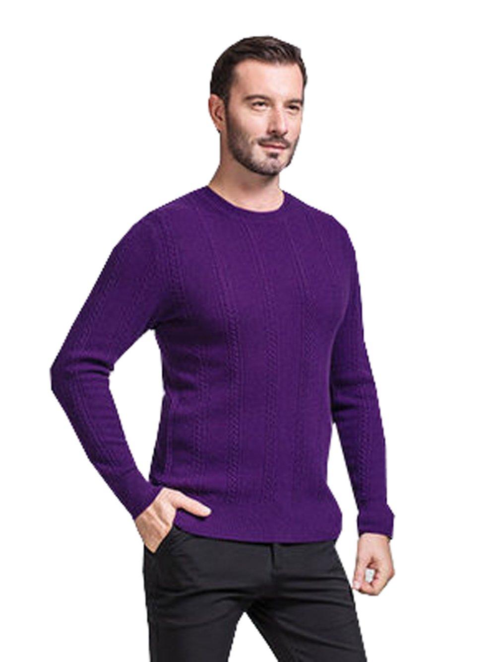 METERDE Men's Crew Neck Twist Detail Cashmere Knitted Jumper Purple L
