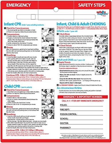 CPR & Choking First Aid for Infants & Children Safety Magnet - 8.5x11 Laminated, Dry Erase Pen