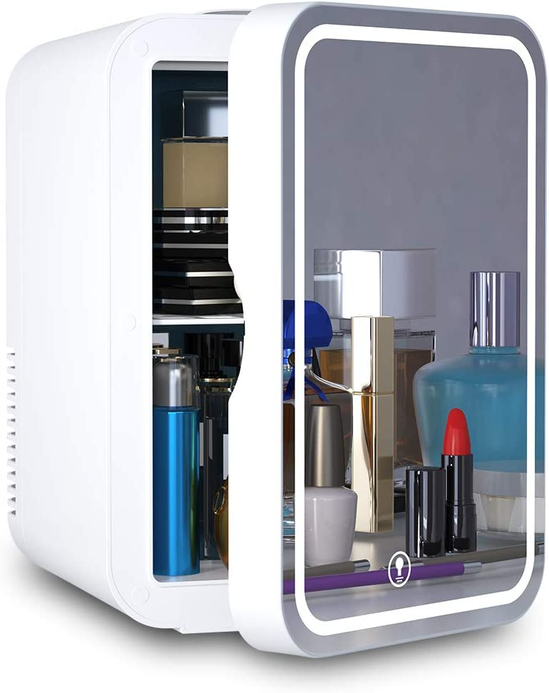 Mini Fridge 6 Liter AC/DC Portable Beauty Fridge Thermoelectric Cooler and Warmer for Skincare, Bedroom and Travel (Mirror & LED Design): Home & Kitchen
