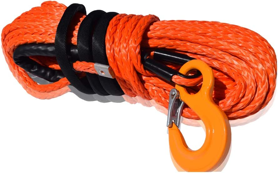 "1/2""&Times;94Ft Synthetic Winch Rope mit Ss Thimble,Atv Winch Cable für Off-Road Utv Suv Vehicle (Orange)"