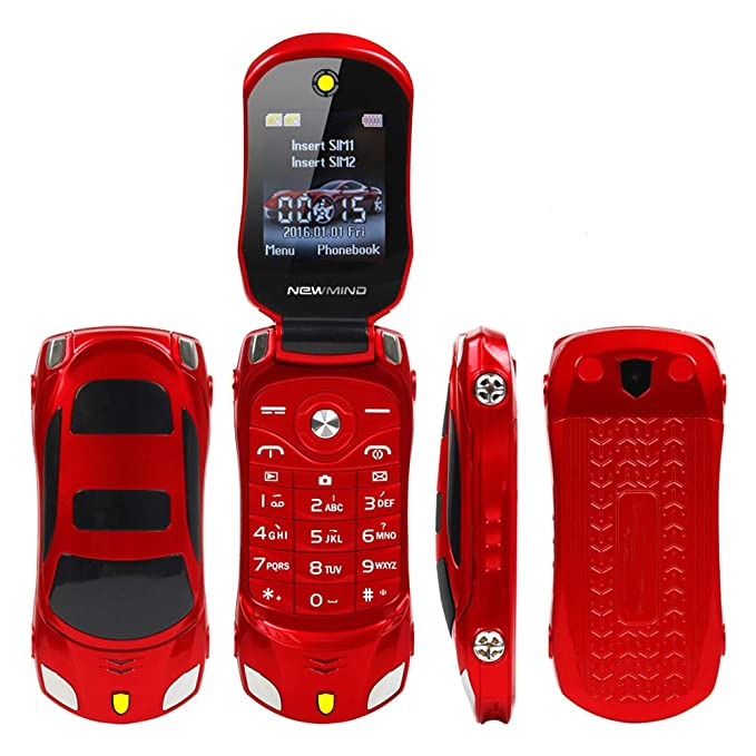 Amazon.com: Sports Car Model F15 Mini Flip Phone Dual SIM Card MP3 Backup Phone Best For Kids Students (Red): Cell Phones & Accessories
