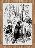 Africa Area Rug by Lunarable, Eurasian Beaver Furry Aquatic Mammal by the Creek in Forest Hand Drawn Style Image, Flat Woven Accent Rug for Living Room Bedroom Dining Room, 5.2 x 7.5 FT, Black White