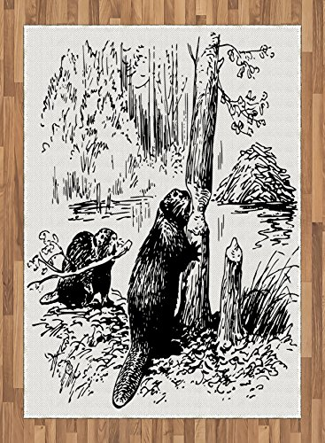 Africa Area Rug by Lunarable, Eurasian Beaver Furry Aquatic Mammal by the Creek in Forest Hand Drawn Style Image, Flat Woven Accent Rug for Living Room Bedroom Dining Room, 5.2 x 7.5 FT, Black White by Lunarable