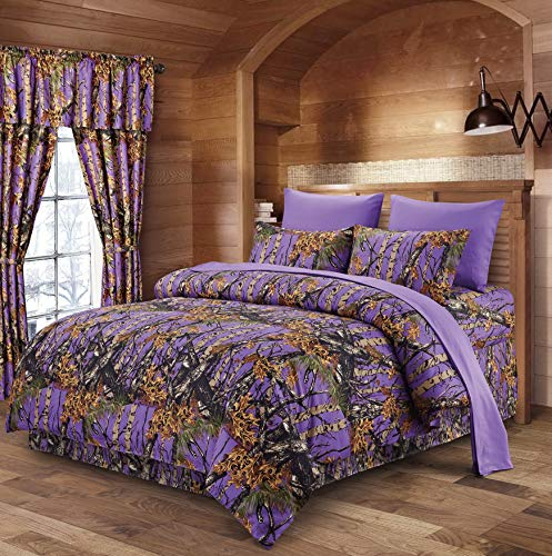 Hemau The Woods Purple Camouflage King 8pc Premium Luxury Comforter, Sheet, Pillowcases, and Bed Skirt Set Camo Bedding Set for Hunters Cabin or Rustic Lodge Teens Boys and Girls   Style 503193813