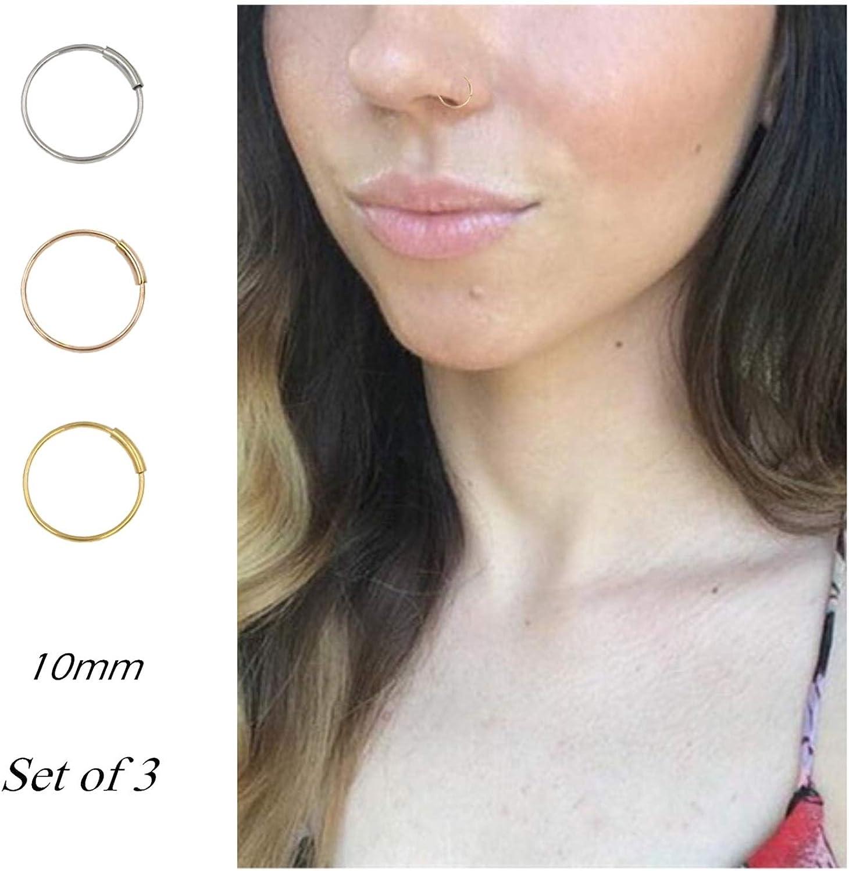 Amazon Com Nose Rings Hoop Titanium Nose Ring Body Piercing Round