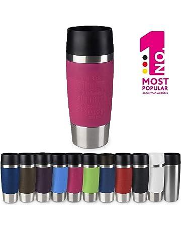 Emsa 513550 Travel Mug Standard-Design, Thermobecher/Isolierbecher, 360ml, hält 4h heiß/ 8h kalt, 100% dicht, auslaufsicher, Easy Quick-Press-Verschluss, 360°-Trinköffnung, Farbe himbeer