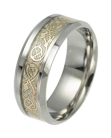 c48d9f0771ef8 Tanyoyo Celtic Dragon Rings for Men Women Stainless Steel Luminous Glow  Wedding Band Silver Golden Jewelry