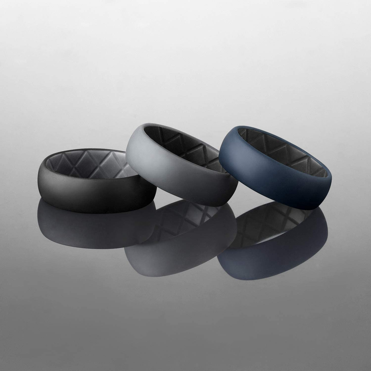 Crossfit Workout Two-Color Ring Breathable Mens Rubber Wedding Bands Egnaro Silicone Wedding Ring for Men Size7 8 9 10 11 12 13