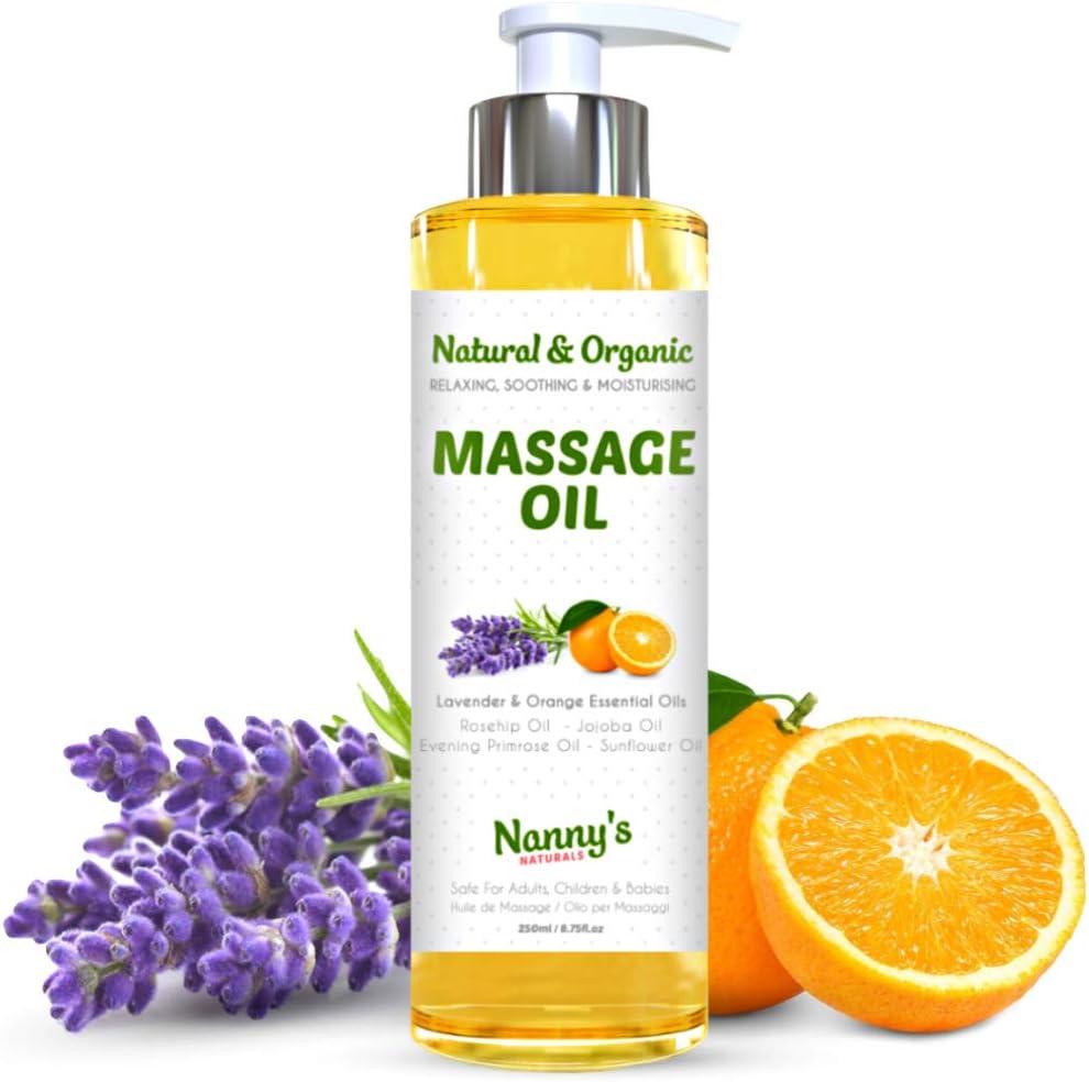 Aceite Para Masaje Natural y Orgánico | Aceites Esenciales de Lavanda y Naranja | Relajante e Hidratante Para Adultos, Niños y Bebés | 250ml