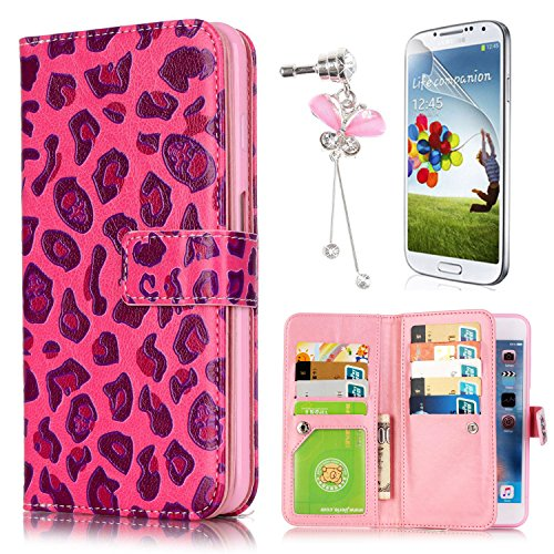 Full Bling Leopard Snap - Samsung Galaxy J7 2016 Case, Sunroyal Luxury Pu Leather Magnet Wallet Card Holder Flip Case with Built-in 9 Card Slots & Cash Compartment Screen Protector & Dustproof Pendant Red Leopard Pattern