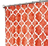 Extra Long Shower Curtain Designer Fabric Coral Red Print Hand Painted Look Unique 72''x 96''