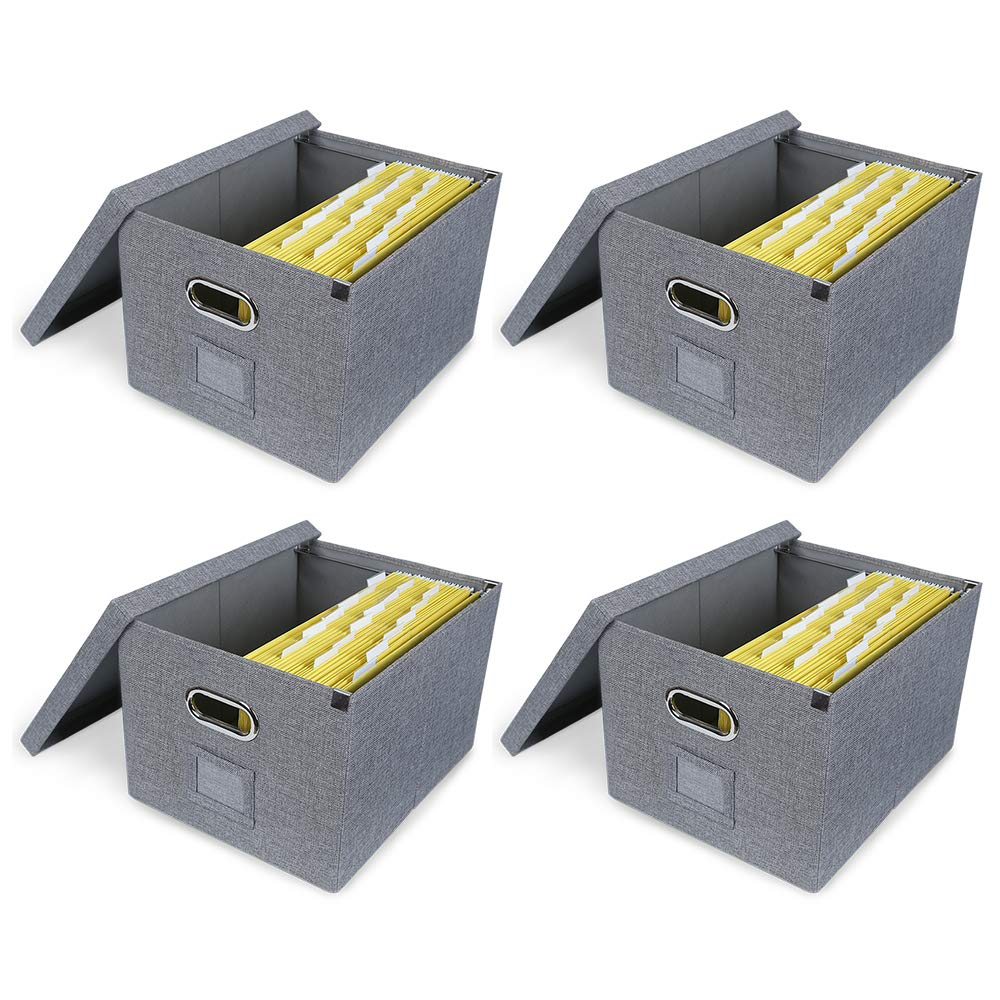 ATBAY File Storage Box Collapsible Large Capacity Office File Organizer for Letter/Legal Size Hanging File Folder Box, Gray 4Pack