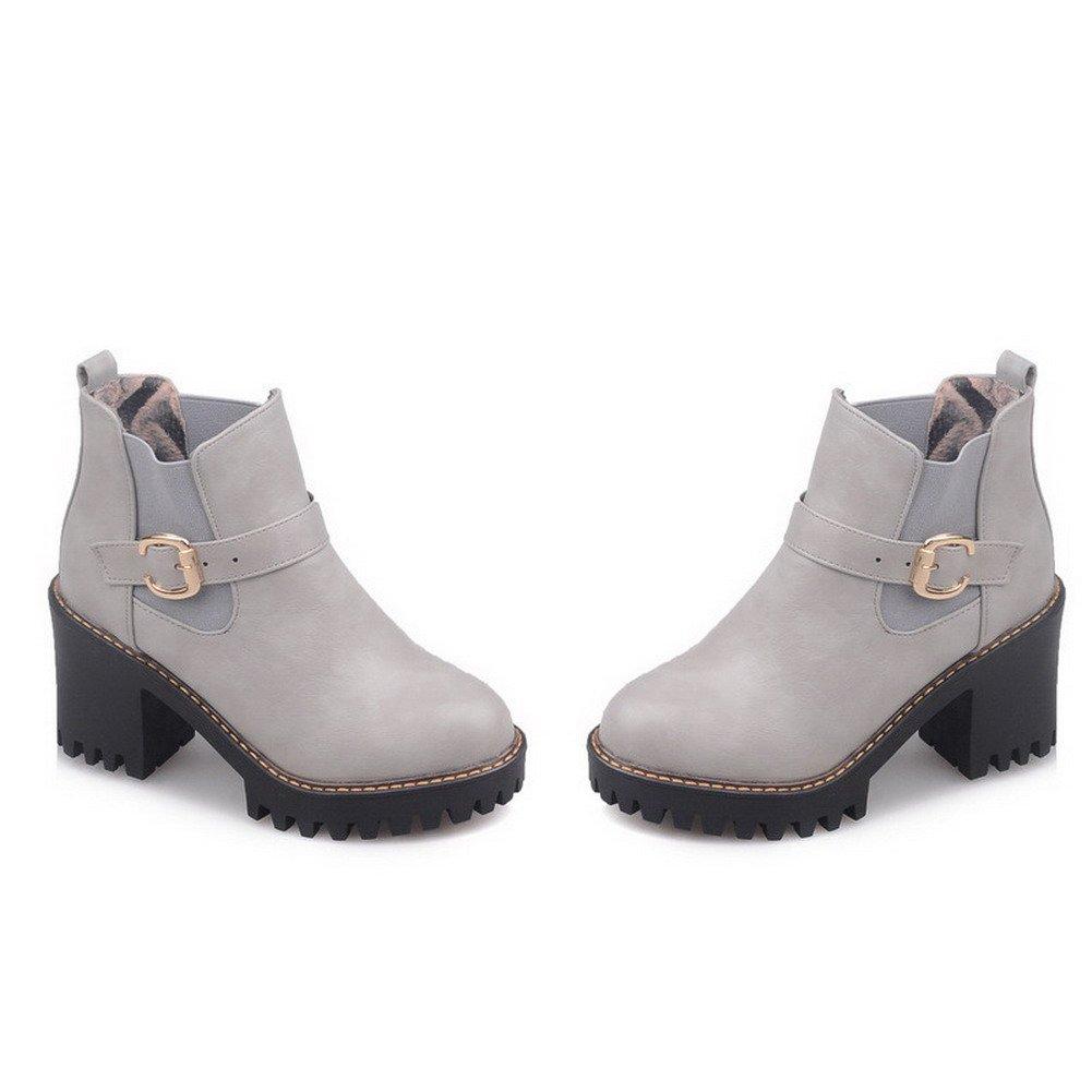 WeenFashion High-Heels Women's High-Heels WeenFashion Solid Round Closed Toe Soft Material Pull-On Boots B01N1I08WG Platform f6c1e2