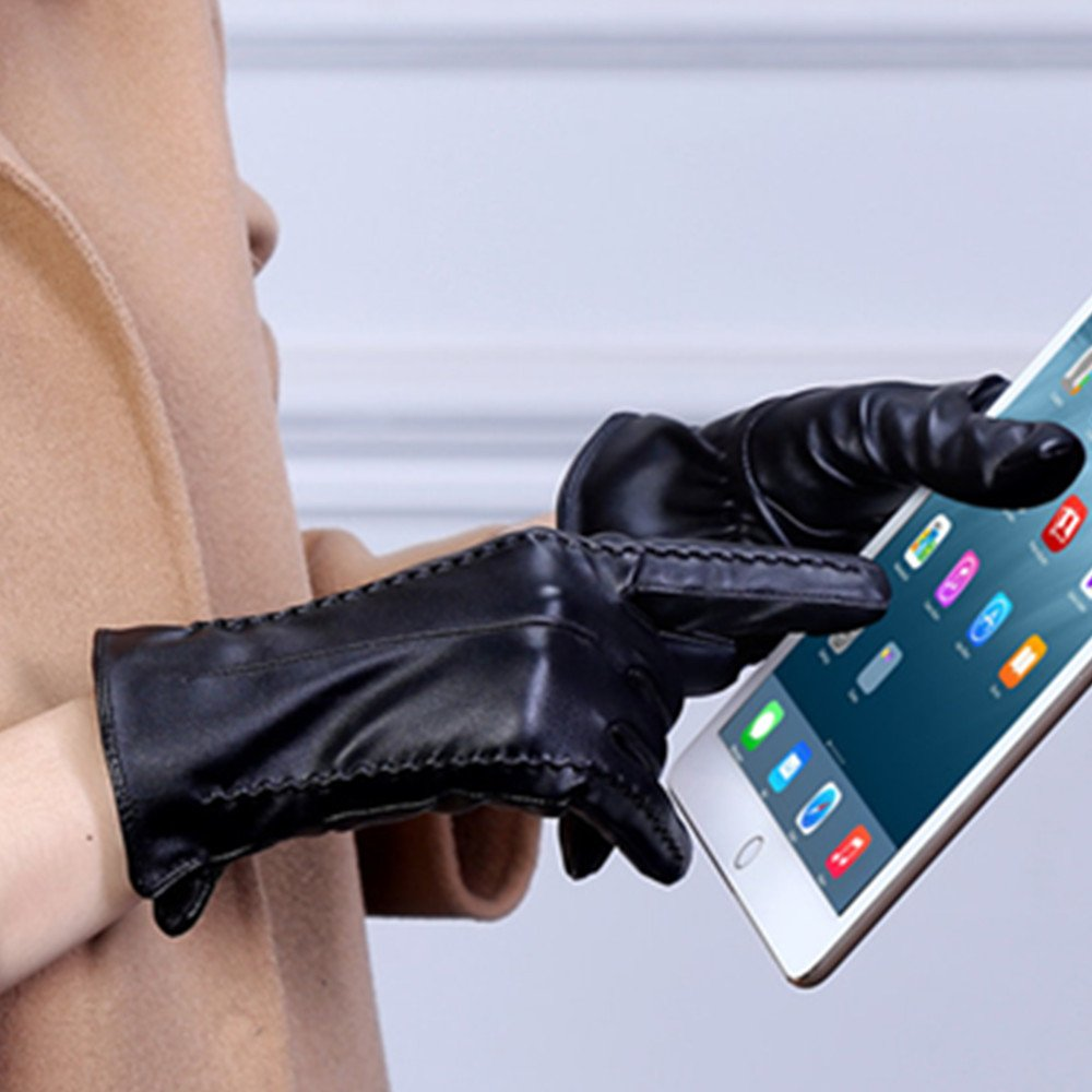 Long Keeper Women's Touchscreen Texting Driving Winter Warm PU Leather Gloves … (Black) by Long Keeper (Image #4)