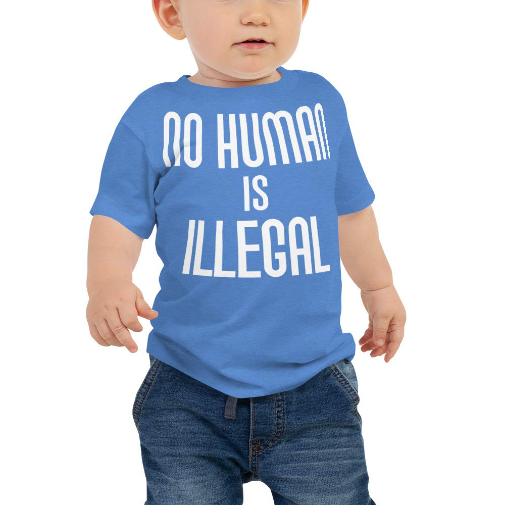 No Human is Illegal 0 Baby Jersey Short Sleeve Tee Heather Columbia Blue