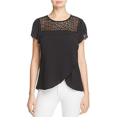3b6138400e Daniel Rainn Womens Lace Insert Flutter Sleeves Blouse Black S at Amazon Women's  Clothing store: