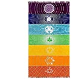 Rainbow Tapestry Yoga Towel Hippie Chakra Tapestries Bohemian Wall Hanging Beach Mat