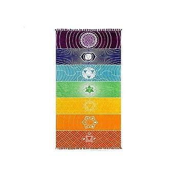 chicsoleil Rainbow Chakra – Toalla de playa, diseño de colgante de pared tapices decoración para