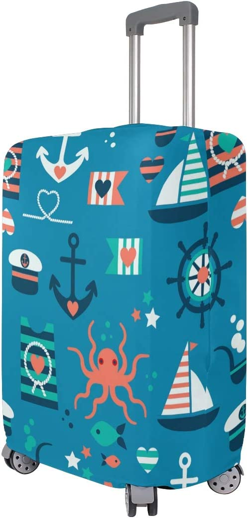 FOLPPLY Marine Anchors Nautical Pattern Luggage Cover Baggage Suitcase Travel Protector Fit for 18-32 Inch