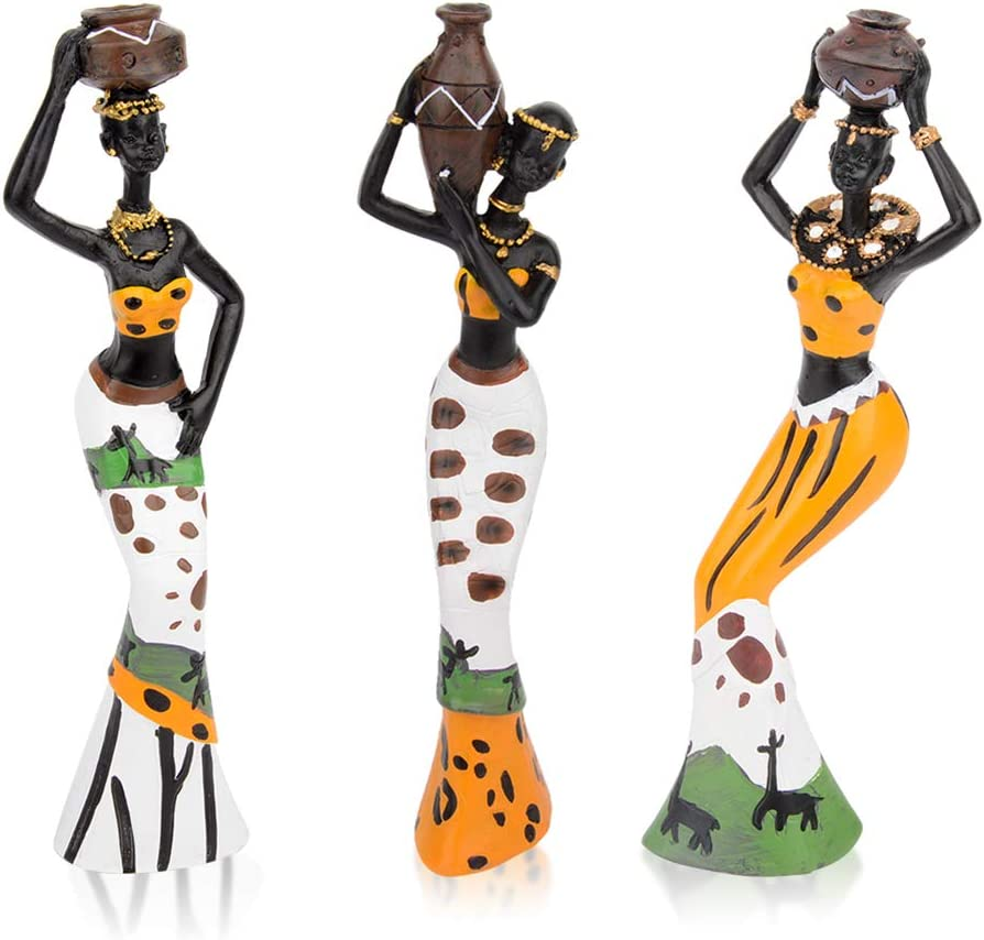 CYYKDA 3PACK Vintage African Statue. Hand Sculpture African American Figurines. Exotic Tribal Lady African Art Piece for Home Decor. Figurines Home Decor. Room Decor for Women-Yellow