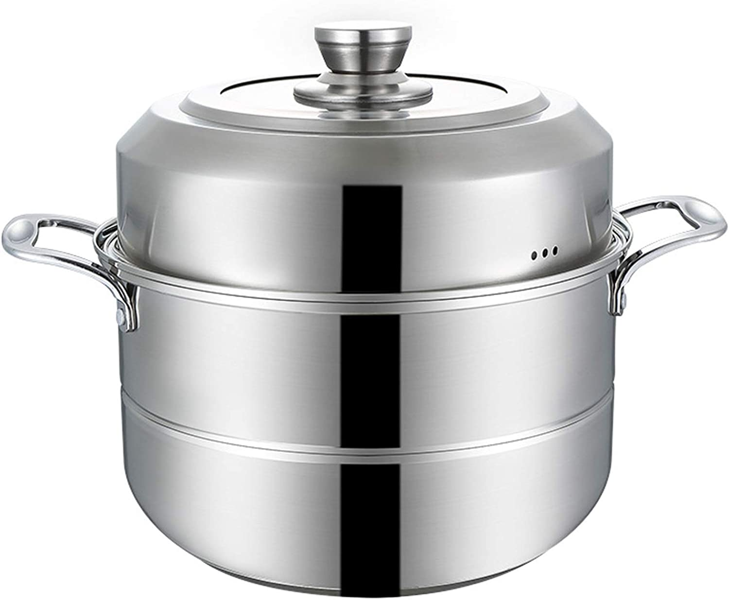 Stainless Steel Steamer, Multi-Layer Boiler Pot with Handles on Both Sides, Food Steamer Steamer Pot Cookware Pot with Lid, for Kitchen,Two layers,26cm