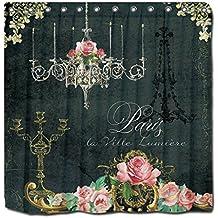 YYT Shower Curtains Romantic Paris Parisian Rose Chandelier Chalkboard Shower Curtain